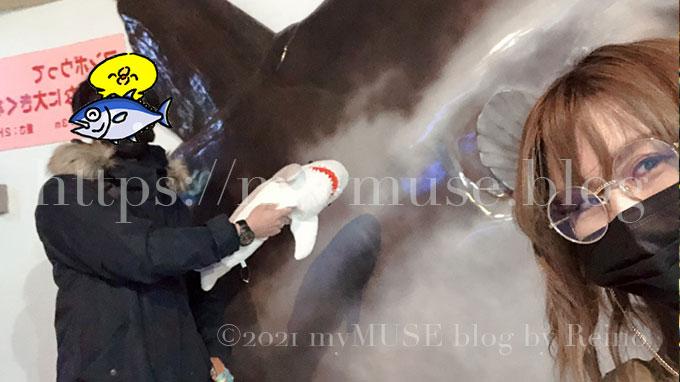 京急油壺マリンパーク(水族館)の撮影スポット。3mのマンボウを再現。