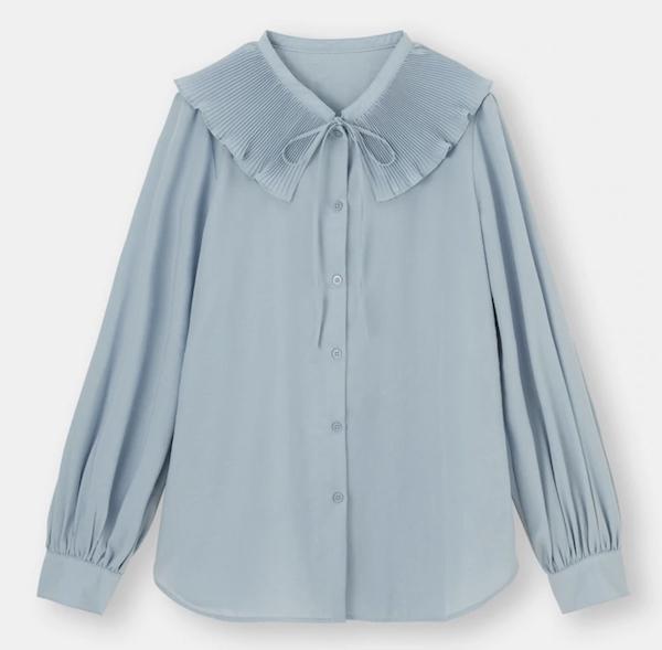 GU購入品♡2021年春夏に買うべきおすすめの高見え大人服な新作!ピーターパン・カラーのプリーツ襟&リボンのブラウス