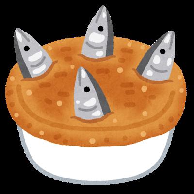 パイの中から魚(ニシン)の頭が飛び出たイギリス料理、スターゲイジー・パイ(星を見上げるパイ)